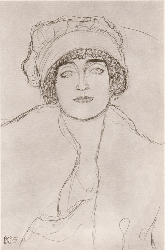 Vintage Gustav Klimt print of pencil drawing of beautiful woman wearing a head hugging hat, published 1982, 12 x 9 inches / 30.5 x 23 cm
