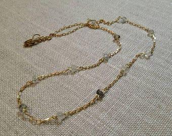 Tourmalinated Quartz Rosary Style Necklace / Minimalist / Boho Chic / Layering Necklace