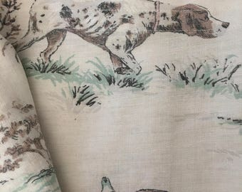 """Vintage 1940s Novelty Scenic Duck Hunting Dog Fabric 37"""" Wide AS IS -B10"""