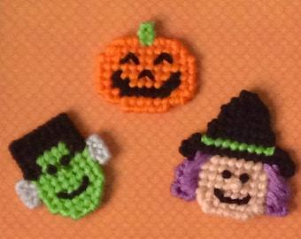 Plastic Canvas: Halloween Mini Magnets (set of 3 -- Jack, Frankie and Broomhilda)