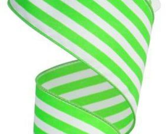 "2.5"" Vertical Striped Ribbon: Apple Green/White"