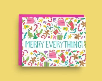 Merry Everything Card, Merry Christmas Card, Cute Christmas Card, Retro Christmas Card, Christmas Greeting Card, Holiday Card