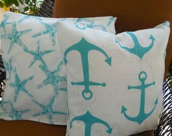 Teal Outdoor Pillow Covers Beach Starfish Nautical Anchor Patio Porch Decorative Throw Pillow Cushion Fabric by Yard