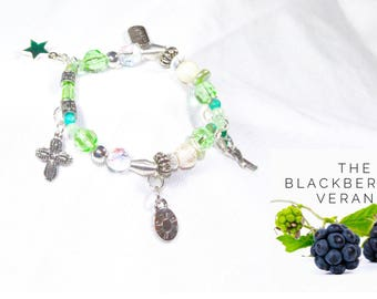 Beaded Bracelet with Charms - Green