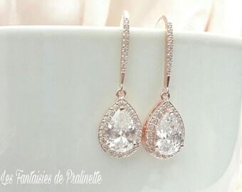Boucles d'oreilles mariage gouttes, boucles d'oreilles strass, boucles rose gold bijoux mariage cristal, boucles d'oreilles mariées zircons
