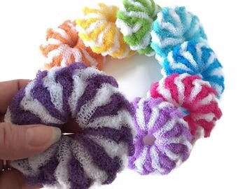 Nylon Pot Scrubbers, Super Thick Dish Scrubbies,Set of 3 through 10 Mini Kitchen Scrubbies,You Choose The Color and Quantity,Nylon Scrubbies