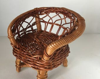 Wicker Miniature Chair Vintage Doll Chair Plant Stand Quality Wicker Shabby Chic