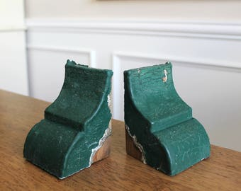 Antique Architectural Salvage Wooden Corbels Small Pair Chippy Green Set of 2