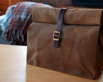 Waxed Canvas Lunchbag | Tan | Horween Chromexcel Leather