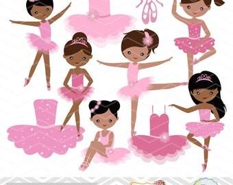 African American Ballerina Digital Clip Art, Ballet Clipart, Pink Ballet African American Girls Clip Art, Pink Ballet Shoes Dress 00226