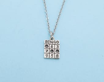 """Bingo charm pendant necklace in silver pewter on a 16"""" stainless steel cable chain with two inch extender..  Bingo necklace.  Bingo Charm."""