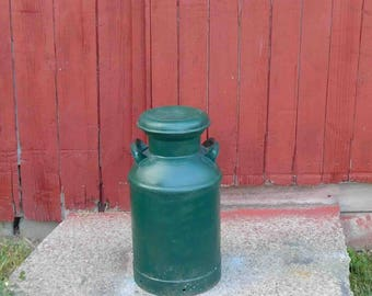 Antique Metal Milk Can from 1940's,Galvanized Steel Milk Can, Dairy Can,Farmhouse Decor,Painted Green,BUHL Milk Can,Lid Comes Off
