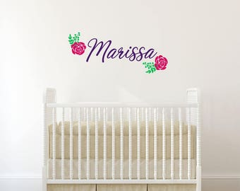 Personalized Girl Name Decal with Flowers - Flower Name Decal - Name Vinyl Decal with Flowers - Girls Nursery Decor - Girls Name Decal