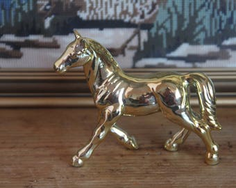 Retro Kitsch Gold 1950's Ceramic Golden Horse