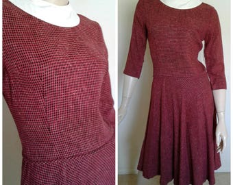 Vintage 50's/60's Red~Black Checked Cotton Dress/Fashion Frocks/Removable White Collar/1950 1960 School Girl/Secretary/Everyday/Rockabilly