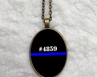 Thin blue line badge number - Big O Necklace