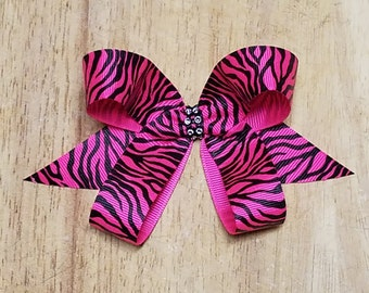 Small Shocking Pink Zebra Hair Bows