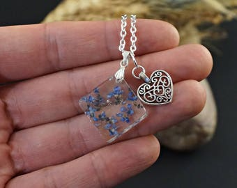Blue flower pendant necklace Silver heart necklace Best friend Gift with love Gift|For|Love Dainty necklace Resin pendant Blue jewelry gift