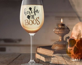 Here for the Boos Drinking Glass, Halloween Party Favor, All Hallow's Eve Punk Gothic Beverage Container, Beer Wine Liquor Soda Milk Cup Mug