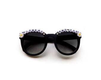 """moe. Opium """"Flowers and Fog"""" Groovy Glasses, hand decorated embellished funky festival shades, Moe novelty accessory, SCamp music festival"""