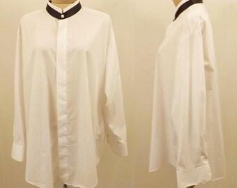 Vintage Demetrios UOMO Black Collar Tuxedo Shirt 17/33
