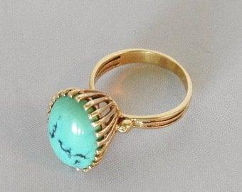 14K yellow gold turquoise high set ring