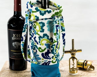 Traveling Wine Bag, Wine Tote, Custom Wine Bag for Wine Lovers, Blue, Green and White Wine Tote Bag