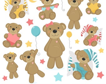 80% OFF SALE Teddy Bear Clipart, Bear Clip Art, Baby, Girl, Pink, Printable, Commercial Use