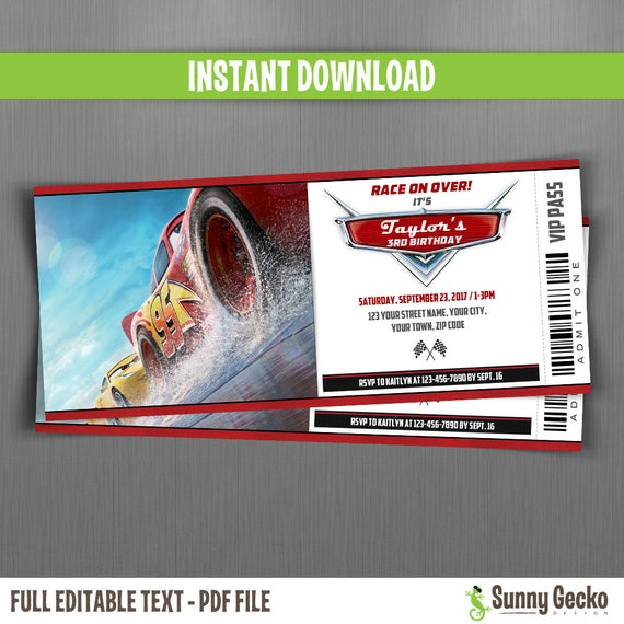 Disney Cars 3 Birthday Ticket Invitations