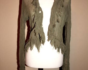 Vintage Neslay Paris Olive Blouse with Oyster Shell Accents, LG