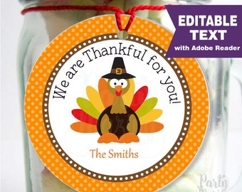 Editable Thanksgiving Favor Tag, Printable We are thankful for you Label, Gift tag, Holiday Sticker, Instant Download -D796