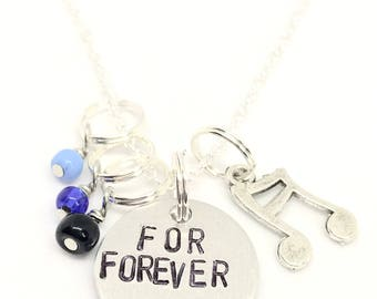"Dear Evan Hansen Inspired Hand-Stamped Necklace - ""For Forever"""