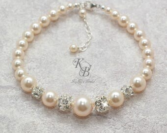 Bridesmaid Bracelet Pearl Bracelet Rhinestone Bracelet Bridal Bracelet Swarovski Pearl Bracelet Wedding Jewellery Bridal Jewelry