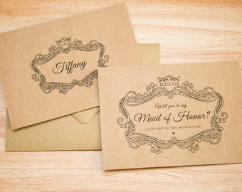 Kraft wedding proposal cards with envelope. Will you be my bridesmaid, maid of honour, flower girl. Bride Tribe. Rustic Wedding stationery.
