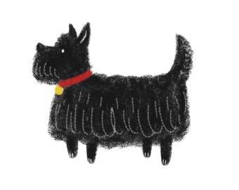 Scotty Dog, pet, scottish terrier, scotland - A6 print
