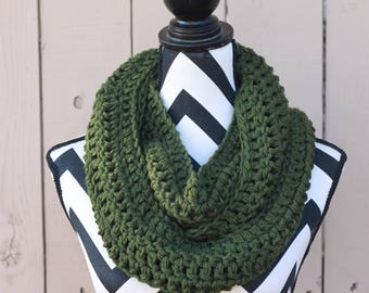 Ready to Ship Olive Green Infinity Scarf