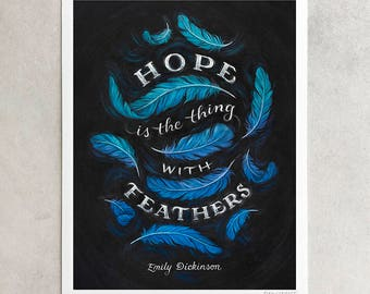 "Emily Dickinson Print, ""Hope Is The Thing With Feathers"", Poetry Quote, Positive Art, Blue & Purple Chalkboard, Giclée, 8x10, 11x14, 24x30"