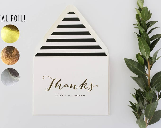 foil pressed thank you cards / personalized wedding thank you cards