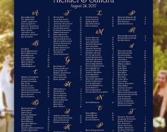 Wedding Seating Chart -  RUSH SERVICE - Elegance Navy & Gold Wedding Seating Chart Poster - Digital Printable File HBC179