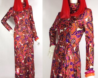 Vintage 1960s psychedelic maxi dress by Kitty Copeland  / Mod / Pop Art  / 70s Hippie / flower power