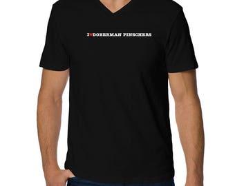 I Love Doberman Pinschers V-Neck T-Shirt