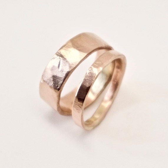 Rose Gold Wedding Band Set - Two Flat Hammered Rings - 9 Carat Gold