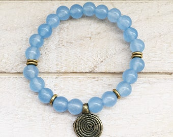 Blue Stone Bracelet, Blue Quartz Bracelet, Baby Blue Bracelet, Blue Crystal Bracelet, Blue Beaded Bracelet, Blue Boho Bracelet, Blue Quartz