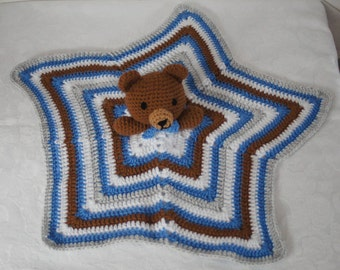Lovely crocheted teddy bear lovey/security blanket by Liz