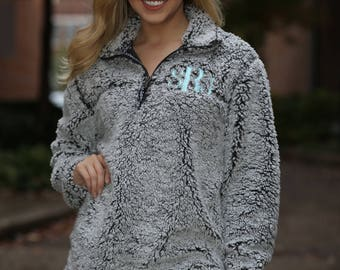 Monogrammed Sherpa Pullover - Sherpa Pullover - Bridesmaid Gift - Office Gift - Oversized Sweatshirt - Custom Pullover