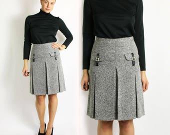 Vintage 80's Light Grey Pleated High Waisted Midi Skirt - Small to Medium