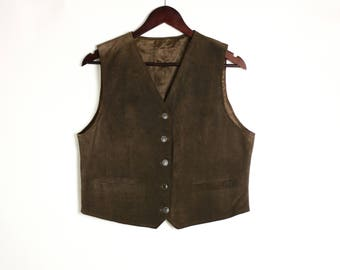 Vintage 80's 90's Esprit Brown Suede Leather Fitted Vest Waistcoat. Leather Top Button Down
