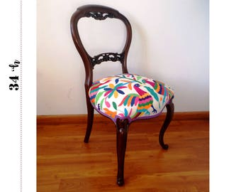 Vintage #Otomi chair hand embroidered by Otomi indigenous pepleUnique #OTOMI Mahogany Multcolor Boudoir Chair ~ Carved ROSES - Ready to ship