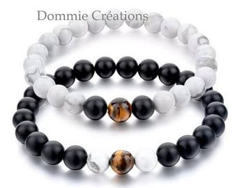 Duo Distance Bracelets for couples, friends... Natural white Howlite, Tiger eye and black agate beads