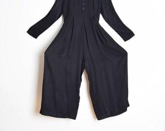 vintage 90s jumpsuit, wide leg jumpsuit, babydoll jumpsuit, roses rosettes, 90s clothing, 90s pantsuit, 90s romper, black jumpsuit, M